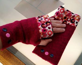 Fingerless gloves one size adult - wool and Jersey