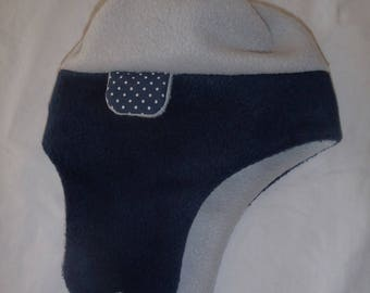 Fleece winter Hat - Hood (baby - toddler up to 4 years) Navy Blue and gray