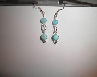 00151 - Earrings dangle blue and rhinestone