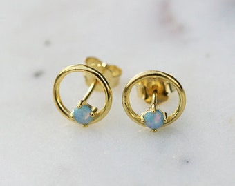 Circle and opal studs