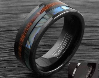 Engravable Custom Tungsten Ring Hawaiian Koa Wood Abalone Band LIFETIME WARRANTY