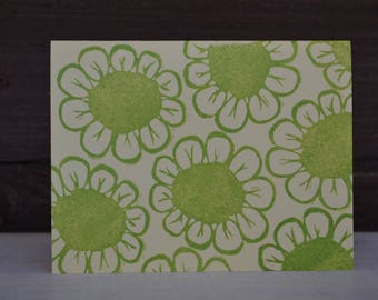Flower print cards - green on yellow