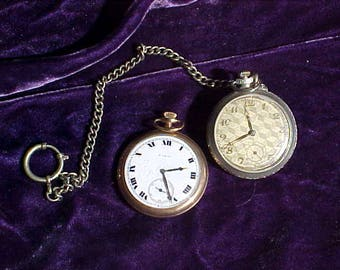 Two Antique Men's Pocket Watches for Jewelry Making Steampunk Arts & Crafts Etc