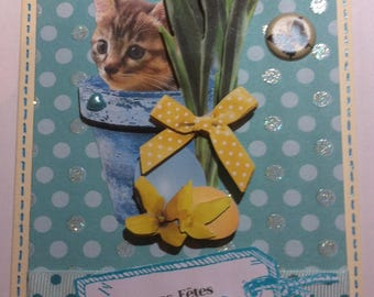 3D Easter card cat in his pot of tulips flowers