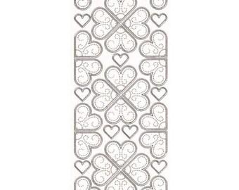Sticker sewing hearts silver edge - STI9103098