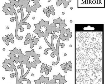 Flowers/butterflies decal - Silver mirror - STI191681