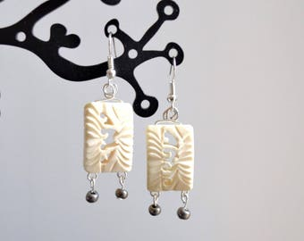 Earrings, ivory and grey