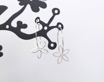 Rings and Silver Flower Earrings