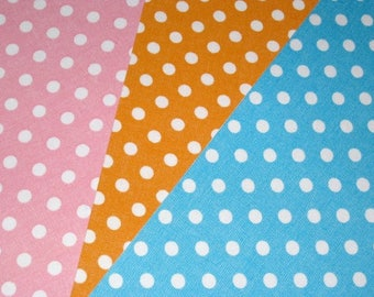 Set of 3 coupons adhesive fabric polka dots 15 x 20 cm