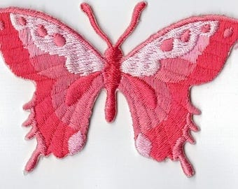 Iron or sew embroidered hot pink butterfly badge. Applique Patch 7.5 x 5.5 cm