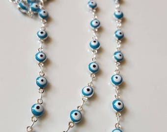 20 cm Blue chain evil eye silver base and color