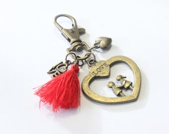Keychain grigri, big heart and Red tassel