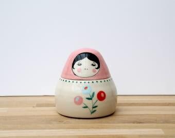 Mid-century ceramic, earthenware, handmade ceramic Russian doll matryoshka