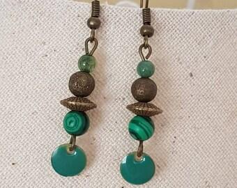 Pearl malachite agate bead bronze bead hook earrings