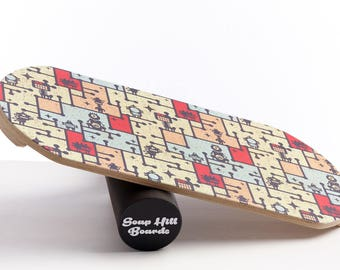 Handcrafted Balance Board With Natural Wood Roller