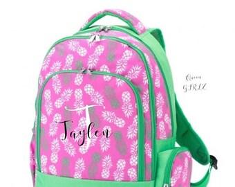 SALE Personalized book bag, pineapple bookbag, monogrammed backpack, kids school bag