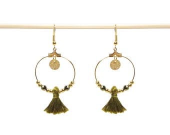 Golden hoops, beads and khaki tassel