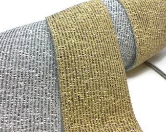 Soft Glitter Metalic Fold over Elastic - Gold and Silver - headbands, 15 - 40mm