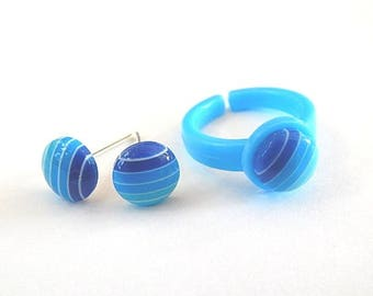 Dress child girl: stud earrings and ring candy striped turquoise ° °