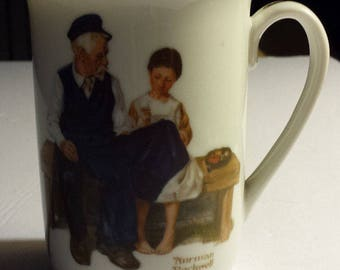 """Vintage 1982 Norman Rockwell Coffee Cup """"The Lighthouse Keeper's Daughter"""""""