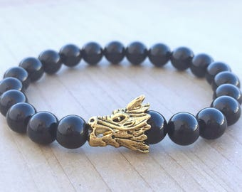 Men's Bracelet, Black tourmaline Bracelet, Dragon Bracelet, Yoga Bracelet, Mala Bracelet, Protection Bracelet, Spiritual Bracelet, Bohemian