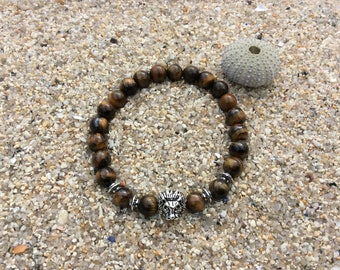 Tiger's eye beads 8 mm and 19 mm wrist charms bracelet