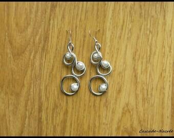 White foil bubble silver bridal wedding Pearl Earrings Pearl