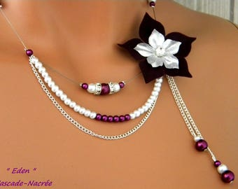 wedding white eggplant plum Eden flower silk silver Pearl bridal necklace
