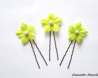 lot 3 lime green jewelry wedding silver Pearl bridal silk flower hair pins