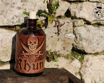 Covered with leather - rum bottle