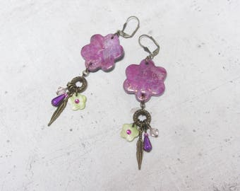 Pink Flower Earrings with Little Valentine