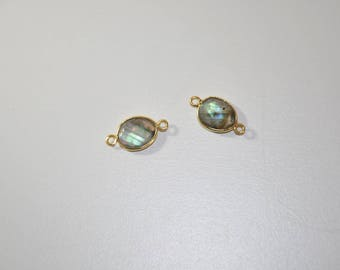 Genuine Labradorite trimmed and gold plated connector