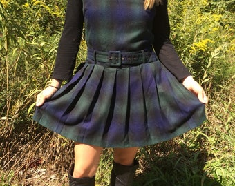 1990s Espirit Plaid Wool Jumper Dress