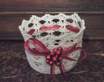 Ecru basket and Red Ribbon