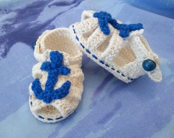 Baby boy 3-6 months-crocheted cotton natural Sandals shoes