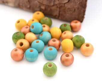 25 round wooden beads 8mm copper, green, blue and yellow