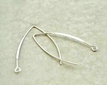 Pair of dangling earrings light silver brass 43x25mm