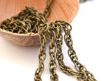 Double twisted 4 mm metal bronze chain
