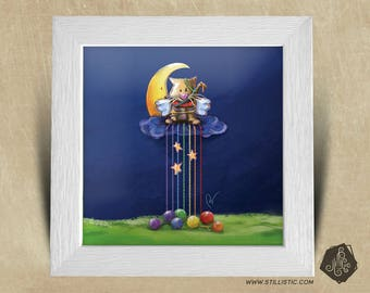 Frame square 25 x 25 with kitten Illustration, Moon and Rainbow yarn for children baby room