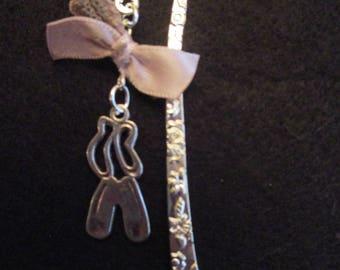 romantic ballerina silver charm bookmark