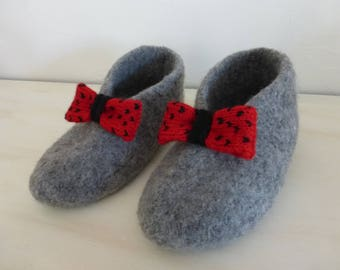 SIZE FELTED WOOL SLIPPERS GRAY MEDIUM BOW ROCKABILLY 37/38