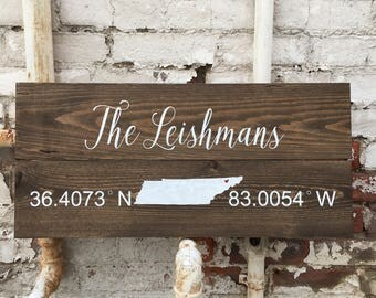 Family GPS Wood Sign