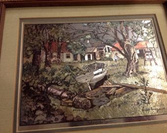 """Vintage Lionel Barrymore gold foil etching titled """"Shoreside Farm"""""""
