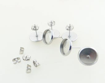 3 pairs of stud earrings 10 MM cabochon