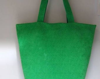 Tote bag leather green chenille