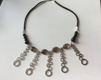 Necklace black suede leather and black agate beads