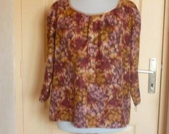 Autumn colors silk peasant blouse