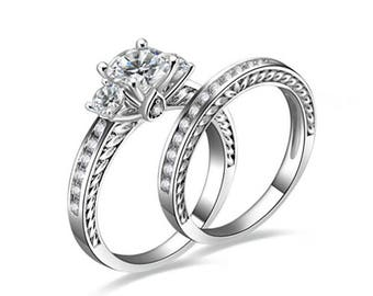 3-Stone 925 Sterling Silver Wedding Engagement Rings Set Women's Size 4-11 ss1951