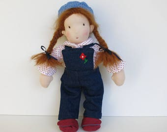 In loving handmade sewn rag doll for girl//doll made of cotton with sheep wool and organic wool//gift for children