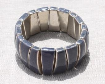Elastic bracelet cuff resin CCB Triangles 28mm Navy silver oil - ethnic Vintage french designer - 8741140025431